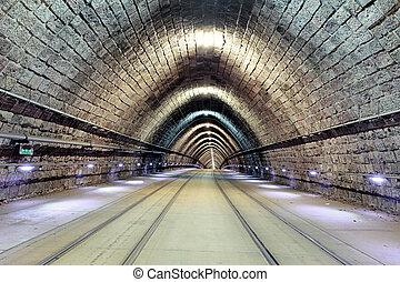 estrada ferro subterrânea, com, em movimento, trem, transporation.