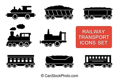 estrada ferro, transporte, ícones