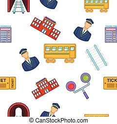 estrada ferro, transporte, estilo, padrão, caricatura
