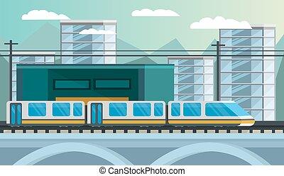 estrada ferro, transporte, ilustração, orthogonal