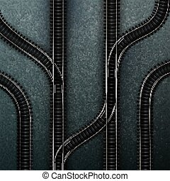 estrada ferro, trilhas, vazio