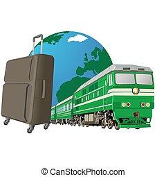 estrada ferro, viagem, transporte