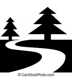 estrada, floresta, ilustração