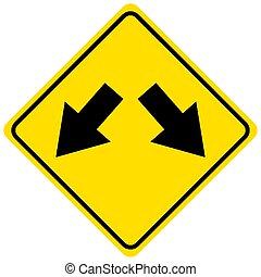 estrada, fundo, sinal, divisões, amarela, branca
