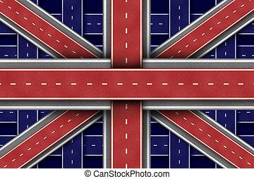 estrada, grande, bandeira, inglaterra