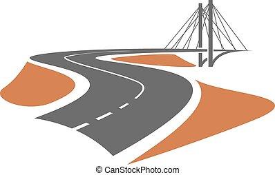 estrada, guiando, para, a, ponte cabo-ficada