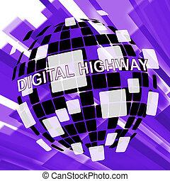 estrada, ilustração, sinal, virtual, rodovia digital, 3d