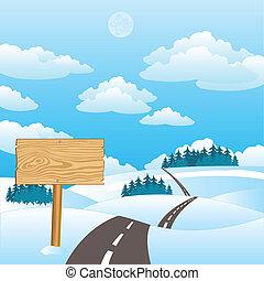 estrada, inverno, ilustração