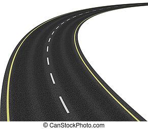 estrada, isolado, branco