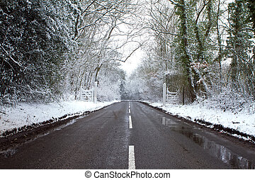 estrada, ligado, um, gelado, dia invernos