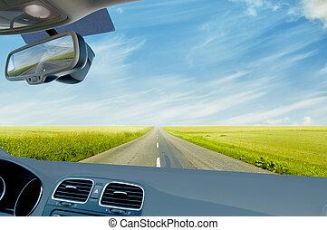 estrada, maschi, conduzir, ao longo