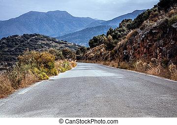estrada montanha, para, a, mar