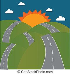 estrada montanha, sol
