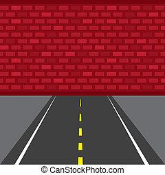 estrada, morto, parede, fim