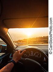 estrada, -, motorista, viajando, sucesso