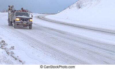 estrada, nevado, passagem, inverno, tráfego