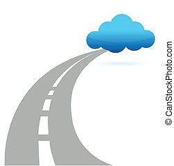 estrada, nuvem, computando