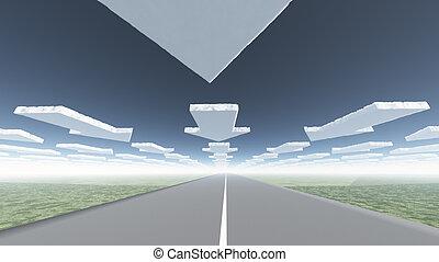 estrada, nuvens, seta