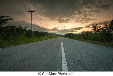 estrada, pôr do sol