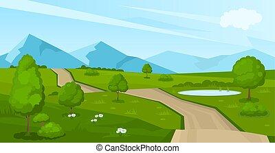 estrada, paisagem, verão, caricatura