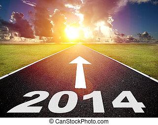 estrada, para, a, 2014, ano novo, e, amanhecer, fundo