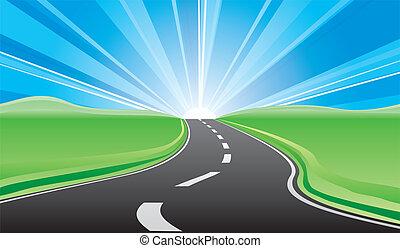 estrada, para, a, amanhecer