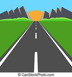 estrada, para, a, horizonte
