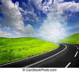 estrada, para, céu