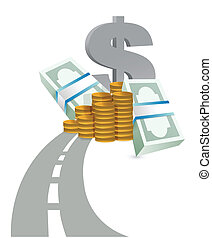 estrada, para, lucros, conceito, ilustração
