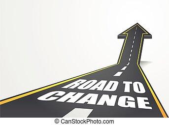 estrada, para, mudança