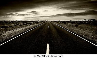 estrada, para, nenhuma parte