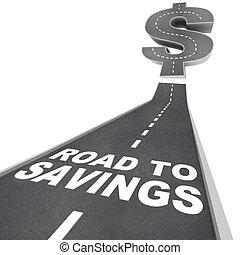 estrada, para, poupança, sinal dólar, exceto dinheiro,...