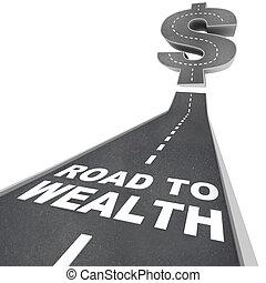 estrada, para, riqueza, -, palavras, ligado, rua