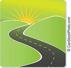 estrada, para, sol, vetorial, estoque