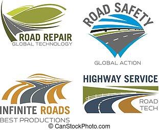 estrada, pista, ou, rodovia, vetorial, ícones, jogo