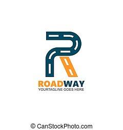 estrada, r, desenho, negócio, letra, ícone, vetorial