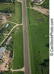 estrada rural, e, campo verde, vista aérea