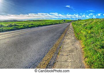 estrada rural, ligado, um, dia claro
