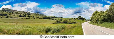 estrada rural, panorama