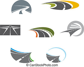 estrada, símbolos, e, pictograms