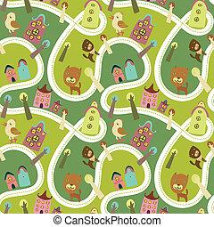 estrada, seamless, padrão, com, casas, e, animais