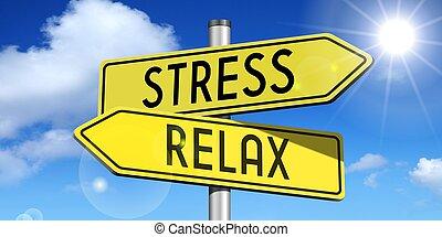 estrada-sinal, tensão, -, amarela, relaxe