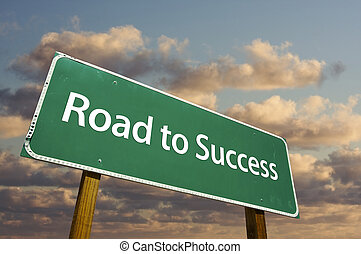 estrada sucesso, verde, sinal estrada