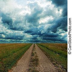 estrada sujeira, através, a, pradaria, em, tempestade