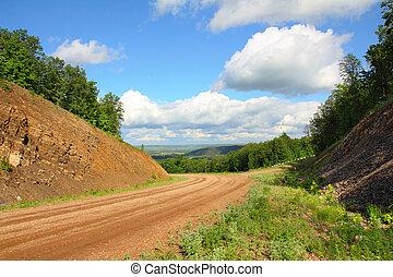 estrada sujeira, em, montanhas