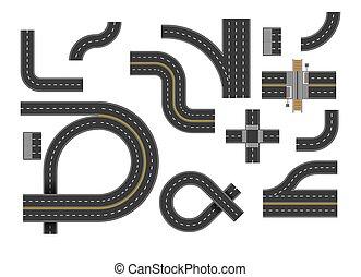 estrada, topo, estradas, rodovia, vista, curvatura, jogo, curvas