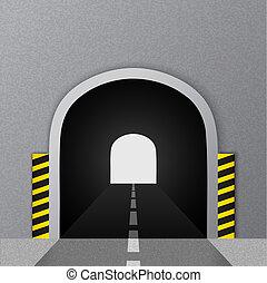 estrada, tunnel., vetorial, illustration.