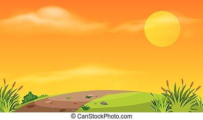 estrada, vazio, pôr do sol, fundo, desenho, paisagem