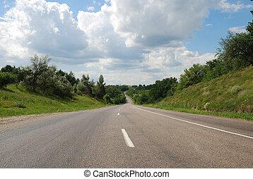 estrada, verão, asfalto, automático