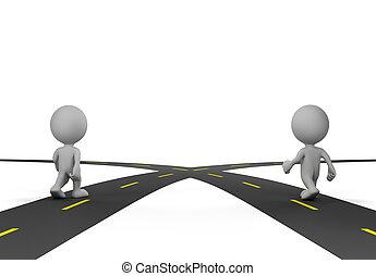 estradas, interseção, dois